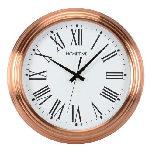 Large Copper Wall Clock - Round Copper Metal Clock 42cm Diameter - Copper Home Accessories